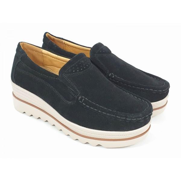 Pantofi dama piele intoarsa negri Flavia