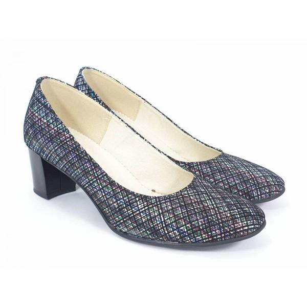 Pantofi dama piele negri cu pastel Alina