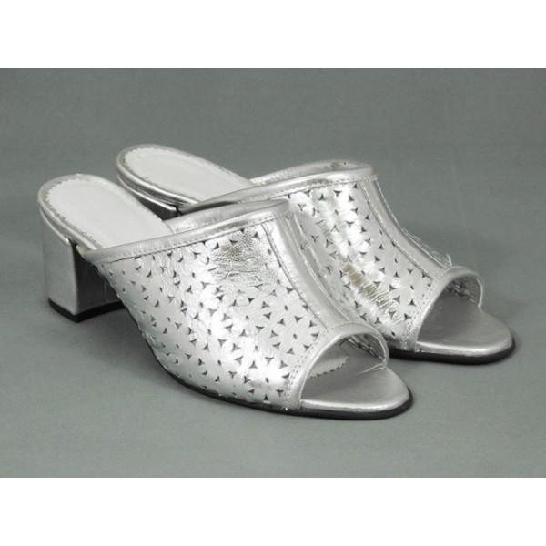 Papuci dama piele argintii Alice