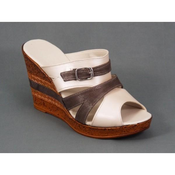 Papuci dama piele bej cu maro toc 10 cm Kolyna