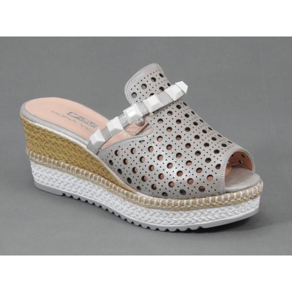 Papuci dama piele bronz metalizat stil sabot Saryna