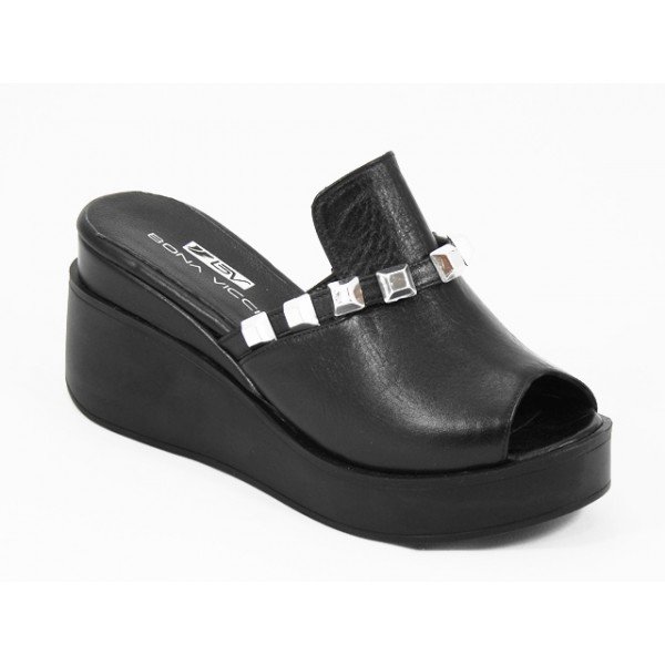 Papuci dama piele negri stil sabot Saryna
