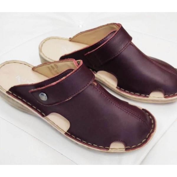 Papuci dama piele visinii Aura